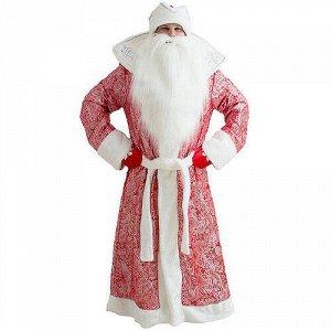 Взрослый карнавальный костюм Дед Мороз Царский, красный, 52-54 размер (Бока С)