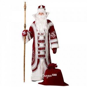 Карнавальный костюм для взрослых Дед Мороз Купеческий бордовый, 54-56 размер (Батик)