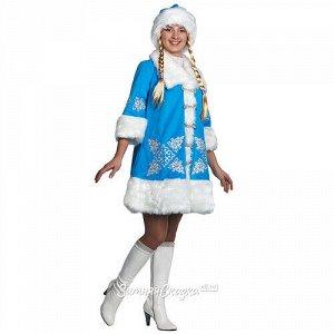 Карнавальный костюм для взрослых Снегурочка с вышивкой, 48 размер (Батик)