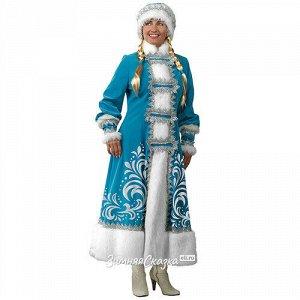 Карнавальный костюм для взрослых Снегурочка с аппликациями, 44-48 размер (Батик)