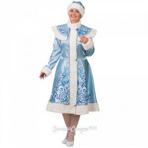 Карнавальный костюм для взрослых Снегурочка, сатиновый с аппликациями, голубой, 50-52 размер (Батик)