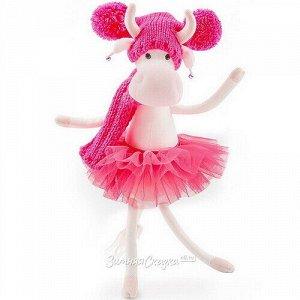 Мягкая игрушка Коровка Карамелька 25 см в ярко-розовом (Orange Toys)