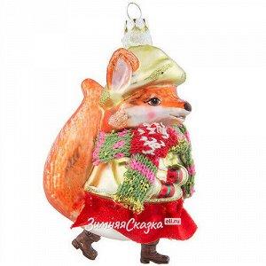Стеклянная елочная игрушка Лиса Алиса в тёплом шарфике 12 см, подвеска (Holiday Classics)