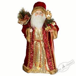 Дед Мороз в красно-золотой шубе с золотым посохом 60 см