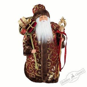 Дед Мороз в бордово-золотой бархатной шубе 45 см