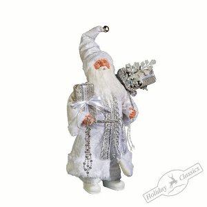 Дед Мороз с подарками в серебристой шубе и белых сапожках 40 см