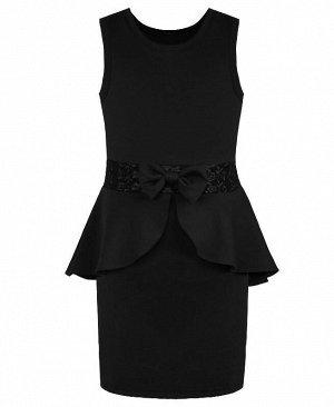 Чёрный сарафан для девочки школьного фасона Цвет: черный