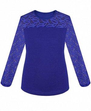Синяя блузка для девочки с гипюром Цвет: синий