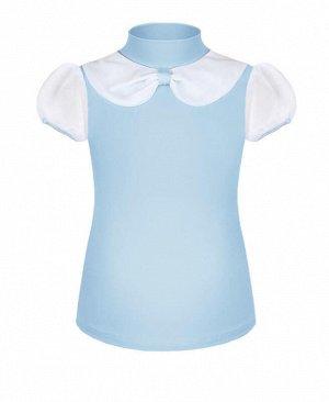 Голубая блузка для девочки школьная Цвет: Голубой