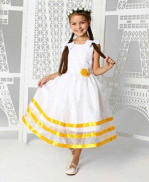 Нарядное платье для девочки с жёлтыми лентами Цвет: белый