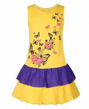 Жёлтый сарафан для девочки Цвет: жёлтый+фиолет
