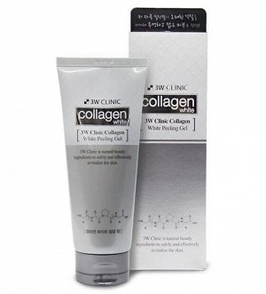 3W CLINIC Очищающий пилинг-гель, с коллагеном Collagen White peeling gel 180 мл.