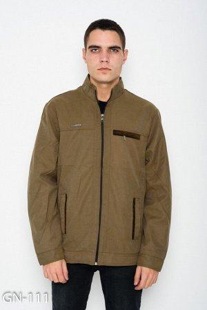 Коричневая тонкая куртка на молнии с велюровым декором