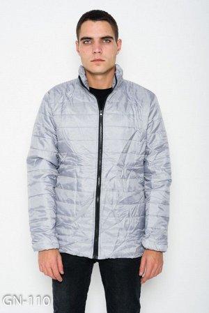 Серая стеганая легкая куртка на молнии с потайными карманами