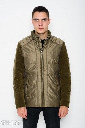 Демисезонная куртка цвета хаки с велюровыми вставками