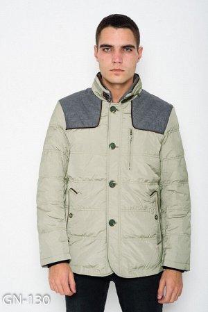 Серая демисезонная куртка с шерстяными вставками