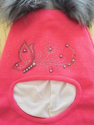 Шапка для девочки, цвет розовый коралл