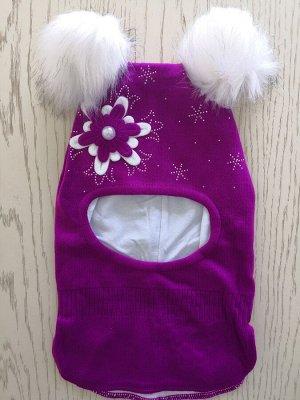 Шапка для девочки, цвет ярко-фиолетовый