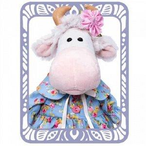 Флоранс На милой коровке Флоранс хлопковое платье в рустикальном стиле. На передней полочке розовые пуговки, круглый воротничок с атласным бантиком, пышная юбочка с домотканым кружевом по низу. На ушк