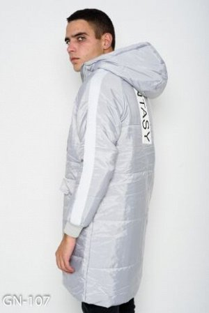 Серый удлиненный пуховик с белыми тесемками
