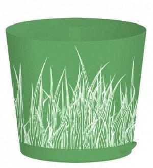 Горшок для цветов, 2 л, d 160 мм, с прикорневым поливом, пластик, зеленая трава, EASY GROW, 1/16