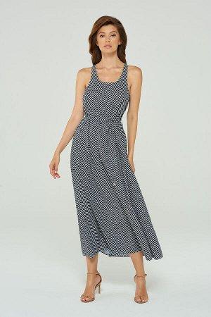 Платье Длинное вискозное платье-макси с поясом и боковыми карманами.