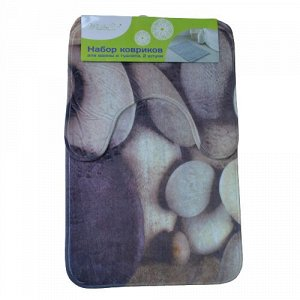 Набор ковриков для ванной и туалета 2 шт, микрофибра, КАМНИ, 45 х 75, 45 х 37 см, 1/50