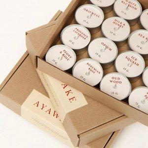 Набор свечей в гильзе (соевый воск, хлопковый фитиль), 16 ароматов