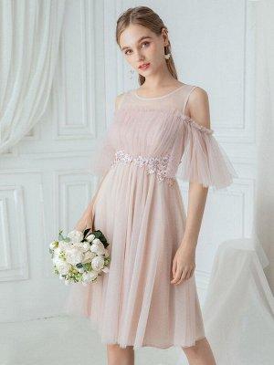 Нежное кремовое коктейльное платье для подружки невесты