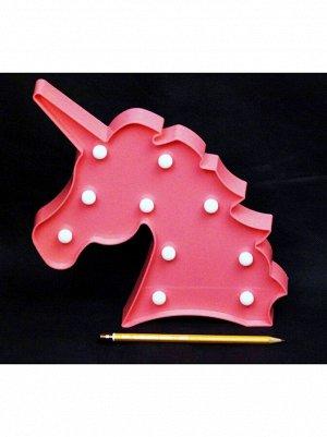 Фигура световая Голова Единорога 25 х 26 см цвет розовый пластик