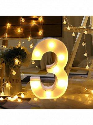 """Фигура световая Цифра """"3"""" 13,5 х 21,5 см цвет белый пластик"""