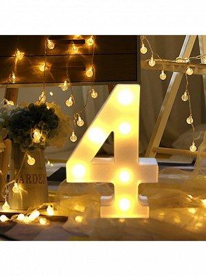 """Фигура световая Цифра """"4"""" 10,5 х 21,5 см цвет белый пластик"""