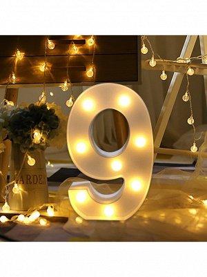 """Фигура световая Цифра """"9"""" 14 х 21,5 см цвет белый пластик"""