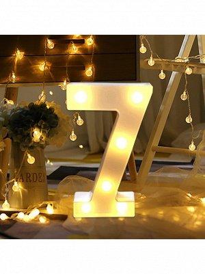 """Фигура световая Цифра """"7"""" 14 х 21,5 см цвет белый пластик"""