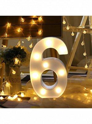 """Фигура световая Цифра """"6"""" 13,5 х 21,5 см цвет белый пластик"""