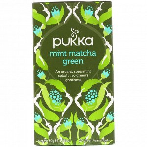 Pukka Herbs, Мятный зеленый чай матча, 20 пакетиков зеленого чая, 1,05 унц. (30 г)
