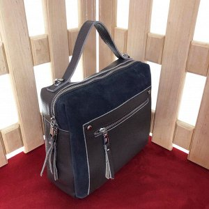 Универсальная сумочка Pretty через плечо из натуральной кожи и натуральной замши цвета графит.