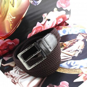 Женский текстильный плетеный ремень-резинка Charlotta шоколадного цвета, длина 100 см.