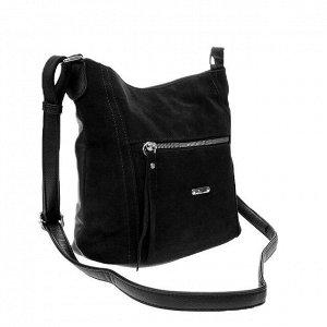 Городская сумка Gino_Kite с ремнем через плечо из натуральной замши и эко-кожи чёрного цвета.