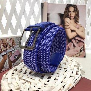 Длина 99 см. Текстильный плетеный ремень-резинка унисекс Relevant цвета кобальт синий.