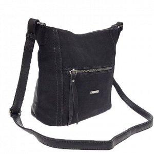 Городская сумка Gino_Kite с ремнем через плечо из натуральной замши и эко-кожи цвета графит.