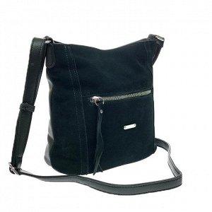Городская сумка Gino_Kite с ремнем через плечо из натуральной замши и эко-кожи цвета зелёного опала.
