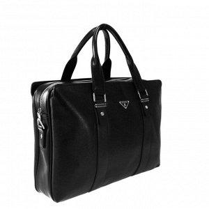 Мужская сумка Guen из эко-кожи с ремнем через плечо черного цвета.