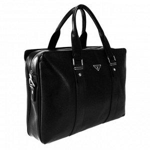 См. описание. Объемная мужская сумка Guan из эко-кожи с ремнем через плечо черного цвета.