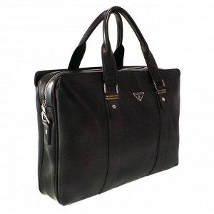 Объемная мужская сумка Guan_trip из эко-кожи с ремнем через плечо кофейного цвета.