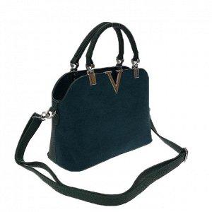 Миниатюрная сумочка Valentiggo с ремнем через плечо из искусственной замши и эко-кожи цвета морской волны.