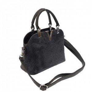 Миниатюрная сумочка Valentiggo с ремнем через плечо из искусственной замши и эко-кожи цвета графит.