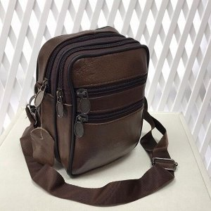 Модная мужская сумка Exx из мягкой натуральной кожи с ремнем через плечо шоколадного цвета.