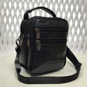 Мужская сумка Pur Homme из мягкой натуральной кожи с ремнем через плечо чёрного цвета.