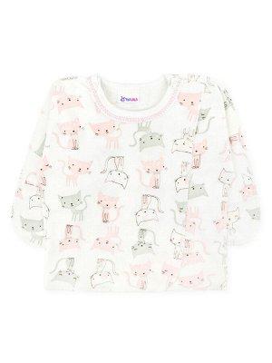 Распашонка Цвет: Белый, Розовый светлый; Рисунок: Котики; Материал: Хлопок 100%; ТИП ТКАНИ: Интерлок Симпатичная ясельная распашонка с длинным рукавом и кнопками на плечах. На рукавах имеются антицара